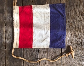 ON SALE - Vintage Nautical Flag - Red White And Blue Canvas Flag - Vintage Canvas Nautical Flag With Rope - Canvas Flag - Nautical Ship Flag
