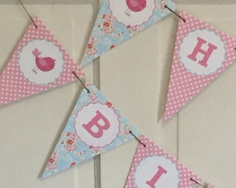 SHABBY CHIC BIRDIE Happy Birthday or Baby Shower Party Banner - Blue Pink - Party Packs Available