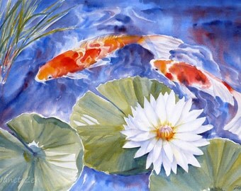 Koi watercolor painting unframed original fish art waterlily pond 14x20 by Janet Zeh Original Art