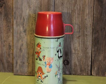 Looney Tunes Metal Thermos Holtemp Warner Brothers 1959 Lunchbox Collectible Vintage 1950s 50s (K-LH)