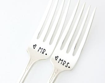Mr and Mrs hand stamped wedding forks for unique engagement gift or table setting.