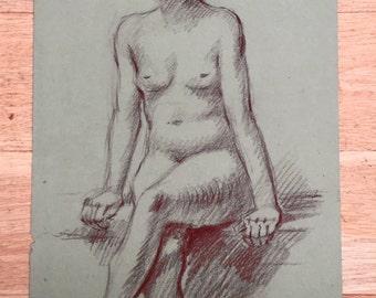 Portrait Sketch Drawing Nude Naked Lady John Hall Cambridge University Original Life Drawing Art Chalk Charcoal Home Decor Wall Hanging