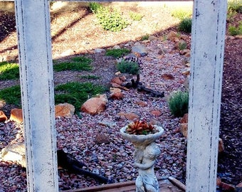 Oversize Shabby Chic Farmhouse Rectangle Mirror, Picture Open Back Frame