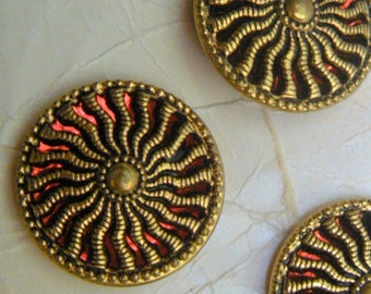 4 Gold Twinkle 23 mm Buttons, with Red Mirror-Back, 4 buttons on Original Cards, Casa de Leon, 23mm, Sunburst, Pierced Design