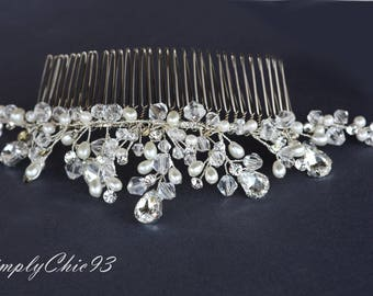 7 inches long Veil Comb, Bridal comb, Crystals and pearls silver wedding comb, Handmade tiara, wire work beaded hair accessories,head piece