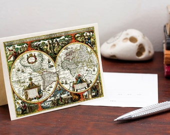 Printable Vintage Map of the world Greeting Card World Map card Printable Digital File Instant Download Birthday Card PDF Download File