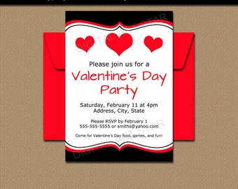 Printable Valentines Day Party Invitations - Valentines Day Sign Template - EDITABLE Valentine Invitations - Valentines Day Party Decor V6