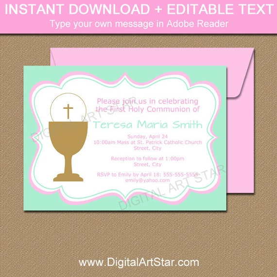 Girl Communion Invite PDF Mint Pink Holy Communion Invitation