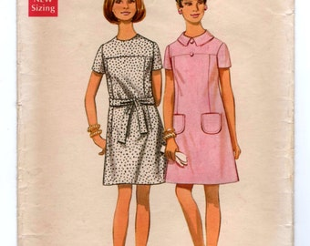 "1960's Butterick Mod Shift Dress - Bust 34"" - No. 5207"