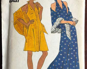 "1970's Butterick Maxi Halter Dress and Day Dress and Shawl Pattern - Bust 31.5"" - UC/FF - No. 3678"