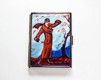 Retro Cigarette Case, Flapper Cigarette Case, Art Nouveau, Slim Cigarette Case, Cigarette Holder, Cigarette box, brown, blue (7680)
