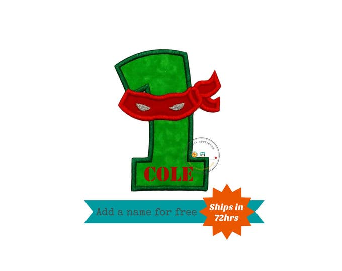 Ninja number one with Red mask, embroidered iron on patch, fabric iron on applique, boy birthday number one, quick shipping, pre-made