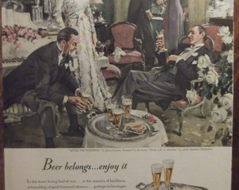 """BEER BREWER'S FOUNDATION """"After The Wedding"""" by John Gannam Bar Decor Alcohol Man Cave Decor Ready To Frame"""