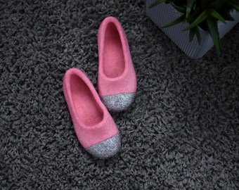 Felted Slippers for Girls - Felted Ballet Flats - Glitter House Slippers -Pink Slippers - Junior Felt Slipper - Wool Felt Slippers - Silver