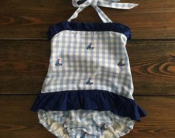 Girls Charleston Gingham and Sailboat Swimsuit