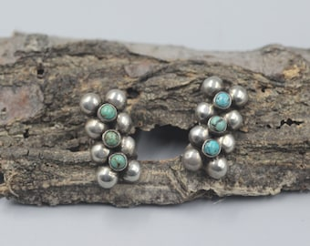 Sterling Silver Turquoise Earrings Modernist Modern Screw back Screwback Mexican Native American Indian