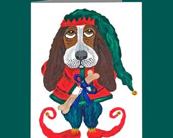 Basset Hound Christmas Cards/Basset Hound Cards/Basset Santa's Helper Elf/Basset Christmas Cards/Squirreldumplings/Assortment Available