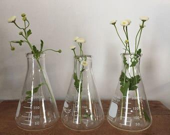 Vintage Glass Pyrex Beaker Flask Lab Glass Bottle 250ml / Chemistry Beaker / Science beaker