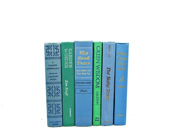 BLue Green Decorative Books, Antique Book Set Stack, Pastel BOok Decor, Wedding CenterpieceInstant Library, Old BOok collection