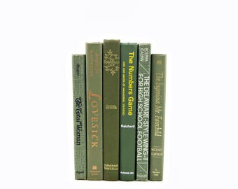Olive Green Books, Book Stack, Decorative Books, Old Book Set, Instant Library, Vintage Book Collection, Beach Home Decor, Interior Design