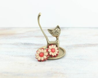 Vintage Brass Cat Trinket dish for rings & jewelry