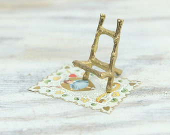 Vintage Miniature Faux Bamboo Gold Plated Metal Easel / Display. (see Item Details for full description).