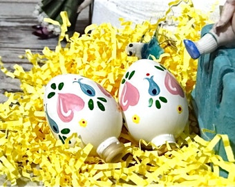 Easter Decor Hand Painted Glass Eggs Tree Ornaments Light Bulb Covers - Vintage Mid Century 1950's