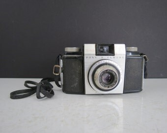 Kodak Pony II Camera // Vintage Retro Film Camera With Carrying Case UNTESTED Photography Prop Mid Century Home Decor Silver and Black