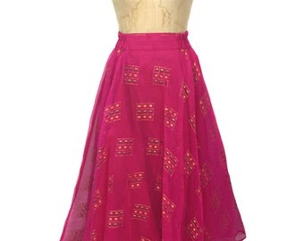vintage Indian party skirt / pink gold / full skirt / maxi skirt / India / sari fabric / women's vintage skirt / size large