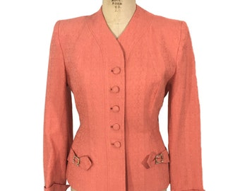 vintage 1950s fitted jacket / peach coral apricot / 50s jacket / wasp waist jacket / women's vintage jacket / size medium
