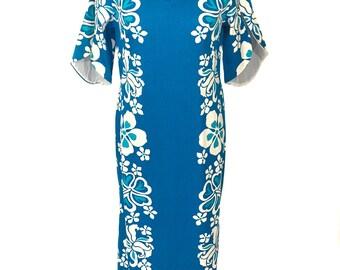 vintage 1970s blue Hawaii maxi dress / Island Togs / Hawaiian dress / tropical tiki vlv / floral maxi / women's vintage dress / tag size 16