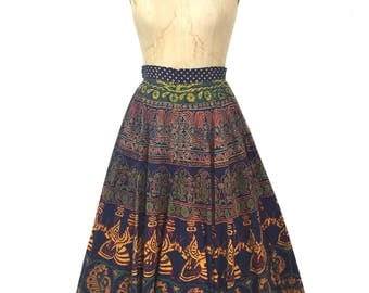 vintage 1970s hand printed circle skirt / 1950s style skirt / F.A. Chatta / ethnic Indian novelty print / women's vintage skirt / tag size 8
