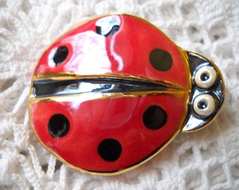 Vintage Lady Bug Brooch, Ceramic Insect Pin, Enamel Lady Bug, Good Luck Pin, Garden Jewelry, Summer Bug Pin, Happy Little Bug