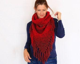 Triangle scarf, fringe scarf, chunky scarf, boho scarf, triangle red scarf, red scarf shawl, winter fashion, Calypso Fringe, ready to ship