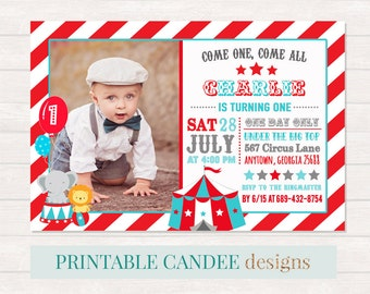 Circus Birthday Invitation, Circus 1st Birthday, Carnival Party, Red Teal Circus Invite, Circus Party, Printable Circus, Elephant Invitation