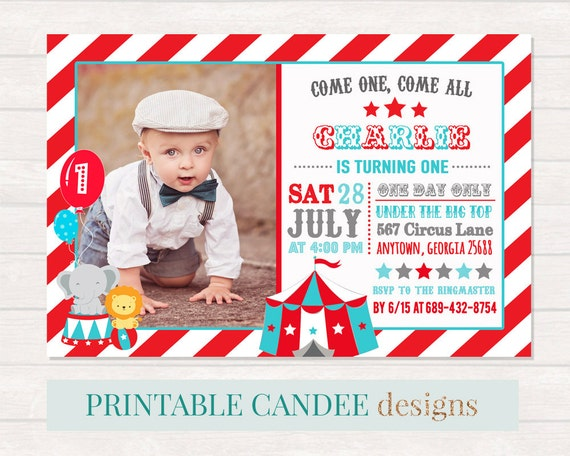 Circus Birthday Invitation Circus 1st Birthday Carnival