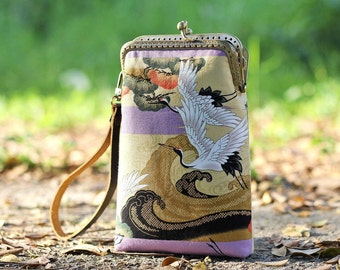 Wristlet phone case two compartment, Premium Japanese fabric floral and cranes, Eyeglasses case, iPhone 6 plus, Galaxy note