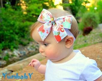 Baby Headband, Peach Baby Flower Headband, Baby Hair Bow, Baby Girl Headband