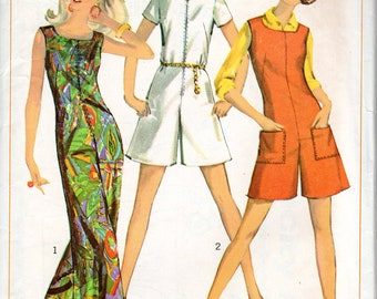 "1960s Women's One-Piece Jumpsuit or Romper Pattern- Size 14, Bust 34"" - Simplicity 7000"