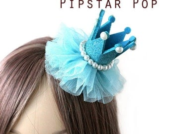 Blue and Pearly Princess crown hair clip (5 color option)  Lolita glitter crown barrette,birthday crown,party favor, princess peach cosplay