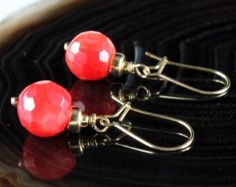Red Bamboo Coral Earrings, Goldfilled earrings, fine earrings, red gemstone, elegant, delicate, dangle, summer earrings, gift for her,ER2591