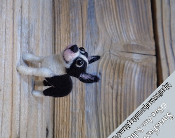 Miniature Boston Terrier puppy, Needle Felted Boston Terrier, Boston Terrier Art, Handmade Boston Terrier