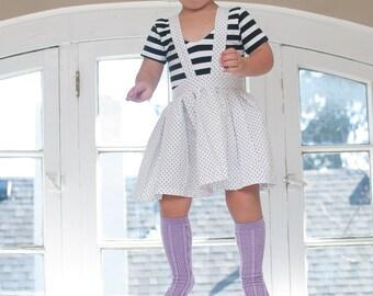 White Pin Dot Suspender Skirt. Black and White Polka Dot Twirl Skirt with Suspenders. Girls Skirt.