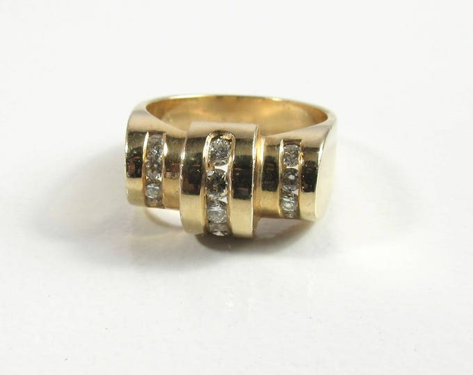 Yellow Gold Art Deco Style Ring, Art Deco Style Diamond Ring, Diamond Ring, Estate Ring, Vintage Diamond Ring, Estate Diamond Ring, Art Deco