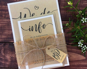 Printed Rustic Wedding Invitation Set – Kraft paper, Invites, RSVP, Basic Black, Announcements, burlap, tag & string