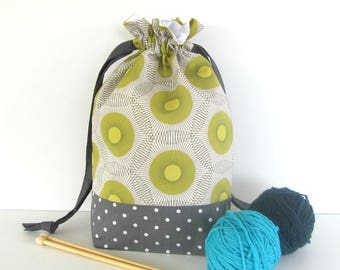Knitting Tote Bag, Medium Drawstring Project Bag Crochet Knitter Gift Bag, Joel Dewberry Birch Farm Lime and Gray