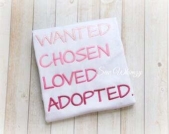 Adoption shirt- Girl's adoption shirt- adopted Shirt- Gotcha Day Shirt- Adoption Day Shirt- Little Sister Adoption Shirt- Adopt- Girl Adopt