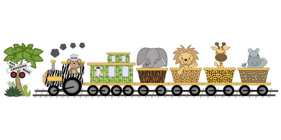 Safari nursery decor jungle animals train wall art mural decal for Baby jungle safari wall mural
