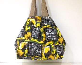 Mid Century Barkcloth Tote Bag