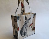 Rabbit tote bag in woodland theme toadstool print perfect as a shopping bag or easter gift bag / rabbit print tote bag